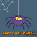 8956 Royalty Free RF Clipart Illustration Smiling Purple Halloween Spider Cartoon Character On A Web With Text Vector Illustration Greeting Card