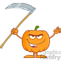 Royalty Free RF Clipart Illustration Scaring Halloween Pumpkin With Scythe Cartoon Mascot Character