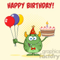 8918 Royalty Free RF Clipart Illustration Cute Green Monster Holding Up A Colorful Balloons And Birthday Cake Vector Illustration Greeting Card vector clip art image