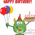 8917 Royalty Free RF Clipart Illustration Cute Green Monster Holding Up A Colorful Balloons And Birthday Cake Vector Illustration Isolated On White With Text vector clip art image
