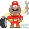 8559 Royalty Free RF Clipart Illustration Smiling African American Mechanic Cartoon Character With Tire And Huge Wrench Flat Syle Vector Illustration Isolated On White