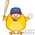 8614 Royalty Free RF Clipart Illustration Baseball Yellow Chick Cartoon Character Swinging A Baseball Bat And Ball Vector Illustration Isolated On White