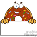 8689 Royalty Free RF Clipart Illustration Chocolate Donut Cartoon Character With Sprinkles Over A Sign Vector Illustration Isolated On White