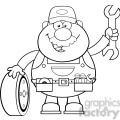 8552 royalty free rf clipart illustration black and white smiling mechanic cartoon character with tire and huge wrench vector illustration isolated on white gif, png, jpg, eps, svg, pdf