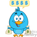8835 Royalty Free RF Clipart Illustration Happy Blue Bird Cartoon Character Holding A Bags Of Money With Speech Bubble Vector Illustration Isolated On White
