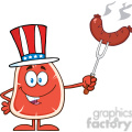 8406 Royalty Free RF Clipart Illustration American Steak Cartoon Mascot Character Holding Up A Sausage Vector Illustration Isolated On White