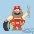 8560 royalty free rf clipart illustration smiling african american mechanic cartoon character with tire and huge wrench flat style vector illustration with background gif, png, jpg, eps, svg, pdf