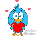 8821 Royalty Free RF Clipart Illustration Cute Blue Bird Cartoon Character Holding A Love Heart Vector Illustration Isolated On White