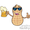 8748 Royalty Free RF Clipart Illustration Peanut Cartoon Mascot Character With Sunglasses Holding A Beer And Thumb Up Vector Illustration Isolated On White
