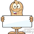 8633 royalty free rf clipart illustration peanut cartoon character holding a blank sign vector illustration isolated on white