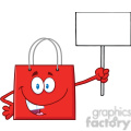 8757 Royalty Free RF Clipart Illustration Red Shopping Bag Cartoon Character Holding Up A Blank Sign Vector Illustration Isolated On White