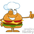 8579 Royalty Free RF Clipart Illustration Winking Chef Hamburger Cartoon Character Showing Thumbs Up Vector Illustration Isolated On White