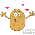 8787 Royalty Free RF Clipart Illustration Happy Potato Cartoon Character With Hearts And Open Arms For A Hug Vector Illustration Isolated On White