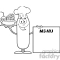 8495 Royalty Free RF Clipart Illustration Black And White Chef Sausage Cartoon Character Carrying A Hot Dog, French Fries And Cola Next To Menu Board Vector Illustration Isolated On White