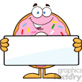 8674 Royalty Free RF Clipart Illustration Donut Cartoon Character With Sprinkles Holding a Blank Sign Vector Illustration Isolated On White
