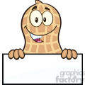 8628 Royalty Free RF Clipart Illustration Peanut Cartoon Character Over A Sign Vector Illustration Isolated On White