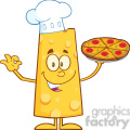 8511 Royalty Free RF Clipart Illustration Chef Cheese Cartoon Character Holding A Pizza Vector Illustration Isolated On White