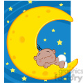Royalty Free RF Clipart Illustration Cute African American Baby Boy Sleeps On Moon Cartoon Character Over Blue Sky With Stars