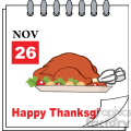 8968 Royalty Free RF Clipart Illustration Cartoon Calendar Page With Roasted Turkey Vector Illustration vector clip art image