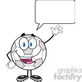 Royalty Free RF Clipart Illustration Happy Soccer Ball Cartoon Character Waving For Greeting With Speech Bubble