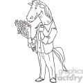 horse holding flowers for a date vector RF clip art images