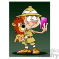 leo the cartoon safari character taking selfie with stuffed lion  gif, png, jpg, eps, svg, pdf