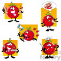 tom the cartoon tomato character clip art image set