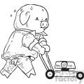 pig gardener vector illustration