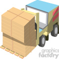 cartoon forklift with double load