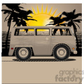 volkswagen bus van sunset on beach