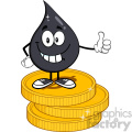 smiling petroleum or oil drop cartoon character giving a thumb up stack of usd dollar gold coins vector illustration isolated on white background gif, png, jpg, eps, svg, pdf