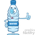 royalty free rf clipart illustration smiling water plastic bottle cartoon mascot character winking and holding a thumb up vector illustration isolated on white