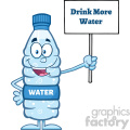 royalty free rf clipart illustration water plastic bottle cartoon mascot character holding up a sign with text vector illustration isolated on white