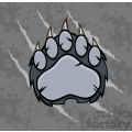 royalty free rf clipart illustration gray bear paw with claws vector illustration with scratches grunge background