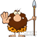 9920 angry male caveman cartoon mascot character gesturing and standing with a spear vector illustration gif, png, jpg, eps, svg, pdf
