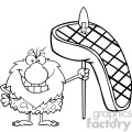 black and white smiling male caveman cartoon mascot character holding a spear with big grilled steak vector illustration gif, png, jpg, eps, svg, pdf