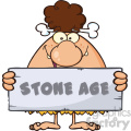 funny brunette cave woman cartoon mascot character holding a stone sign with text stone age vector illustration gif, png, jpg, eps, svg, pdf