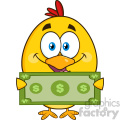 royalty free rf clipart illustration cute yellow chick cartoon character holding cash money vector illustration isolated on white gif, png, jpg, eps, svg, pdf