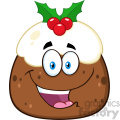 royalty free rf clipart illustration happy christmas pudding cartoon character vector illustration isolated on white