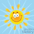 royalty free rf clipart illustration smiling sun cartoon mascot character vector illustration with background