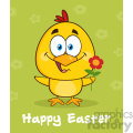 royalty free rf clipart illustration cute yellow chick cartoon character holding a flower over green with happy easter text vector illustration gif, png, jpg, eps, svg, pdf