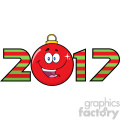 happy 2017 new years eve greeting with christmas ball cartoon character and numbers vector illustration illustration isolated on white gif, png, jpg, eps, svg, pdf