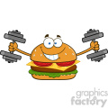 illustration smiling burger cartoon mascot character working out with dumbbells vector illustration isolated on white background