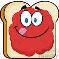 illustration toast bread slice cartoon character licking his lips with jam vector illustration isolated on white background