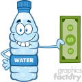 illustration cartoon ilustation of a water plastic bottle cartoon mascot character holding a dollar bill vector illustration isolated on white background