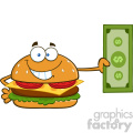 illustration smiling burger cartoon mascot character holding a dollar bill vector illustration isolated on white background gif, png, jpg, eps, svg, pdf