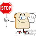 illustration smiling bread slice cartoon mascot character gesturing and holding a stop sign vector illustration isolated on white background