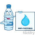 of a water plastic bottle mascot character holding and pointing to a banner with text vector illustration isolated on white background