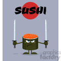 illustration angry sushi roll cartoon mascot character ready to fight with two katana swords vector illustration flat style poster with background
