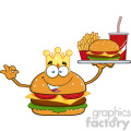 illustration king burger cartoon mascot character holding a platter with burger, french fries and a soda vector illustration isolated on white background